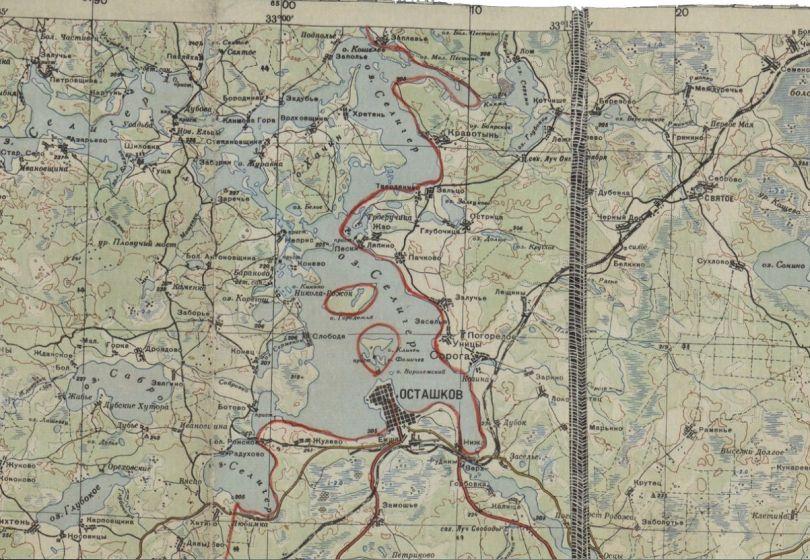 Осташков - линия фронта по состоянию на 30.12.41.