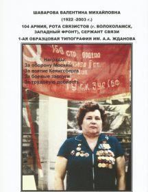 Шаварова Валентина Михайловна
