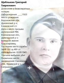 Щеблыкин Григорий Гаврилович