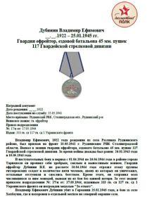 Дубинин Владимир Ефимович