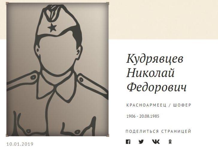 Поиск родных рядового Кудрявцева Николая Федоровича