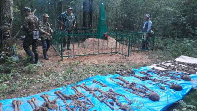 Поисковики перенесли труднодоступное воинское захоронение в Солецком районе