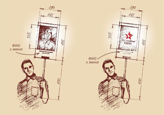 Как изготовить транспарант с портретом солдата