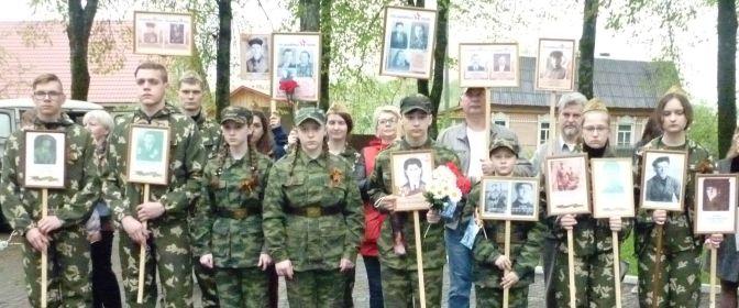 Краеведы и поисковики на митинге после шествия Бессмертного полка