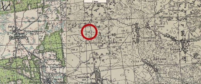 Фрагмент топографической карты РККА Могилевской области с указанием высоты 169,5, за которую свой последний бой вел старший сержант Калинин Н.А.