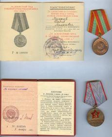 """Медаль """"За доблестный труд в ВОВ 1941-1945"""" - 30 04 1946, медаль """"За трудовую доблесть"""" - 02 12 1953"""