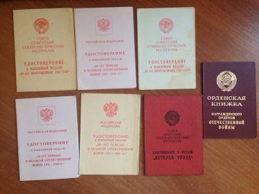 Удостоверения к медалям дедушки