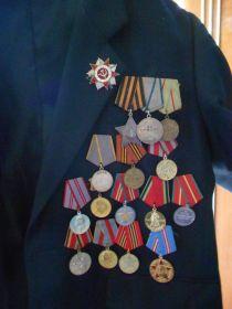 1. Орден Отечественной войны 2 степени 2. Медаль за взятие Берлина 2.05.45 3. Орден Славы3 степени 4. Медаль за отвагу 5. Медаль за боевые заслуги 6. Медаль за освобождения Варшавы 27 января 43г 7. Медаль за победу над Германией 43-45 г