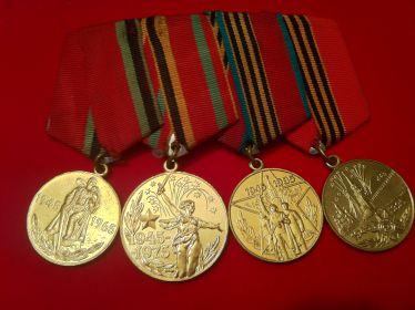 Юбилейные медали Победы в Великой Отечественной Войне: 20лет, 30лет, 40лет, 50 лет