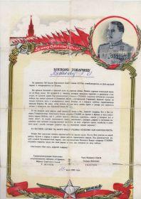 Благодарность от Маршала СССР Жукова Г. К.