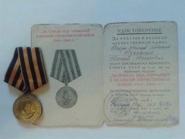 """медаль """"За победу над Германией в ВОВ 1941- 1945 гг."""""""