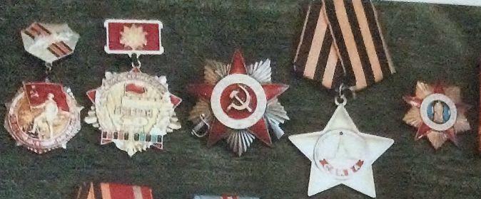 """Медаль За Победу над Германией, орден славы 3 степени, орден отечественной войны 1 степени, Почётный знак """"Ветеран 50 Армии""""и другие награды"""