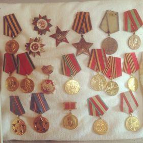 Орден Славы II степени;Орден Славы III степени ;Орден Отечественной войны II степени ;Медаль за Отвагу;Орден красной Звезды.