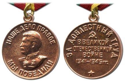 """""""  За доблестный труд Великой Отечественной Войны 1941-1945"""""""