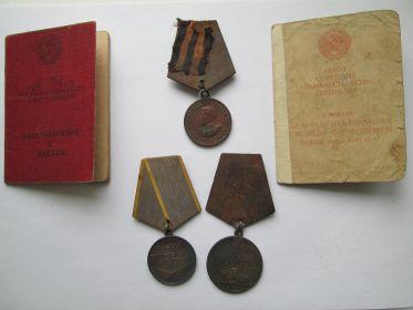 """медаль """"За боевые заслуги, медаль """"За отвагу"""", медаль """"За победу над Германией в Великой отечественной войне 1941-1945 ."""""""
