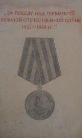 Медаль «За победу над Германией в Великой Отечественной Войне 1941-1945 гг.»
