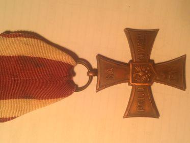 Польский орден «КРЕСТ ХРАБРЫХ» «NA POLU CHWALY 1944 WALE CZNYM».