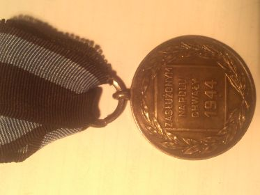 Польская медаль «Заслуженным на поле Славы» Medal «Zasluzonym na Polu Chwaly» «MILI TARI VIR TUTI ZASLUZONYM NA POLU CHWALY» 1944г.