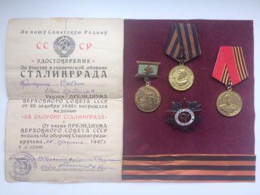 Орден Отечественной Войны II степени, медаль за Оборону Сталинграда, медаль за Победу над Германией, медаль Жукова