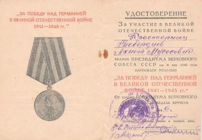 Медаль «За победу над Германией в Великой Отечественной войне 1941—1945 гг.»