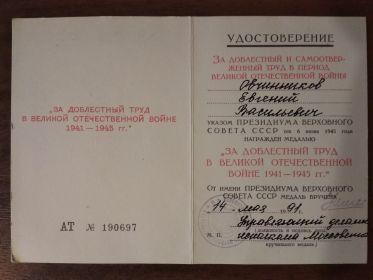 Медаль  «За доблестный труд в Великой Отечественной войне 1941 -1945 гг»,