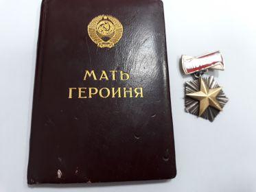 Удостоверение, медаль Мать Героиня