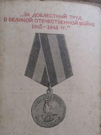 За доблестный труд в Великой Отечественной Войне 1941-1945гг.