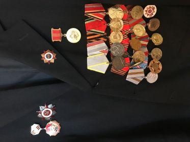 Орден Великой Отечественной войны второц степени,Медаль за боевве заслуги, Юбилейные медали