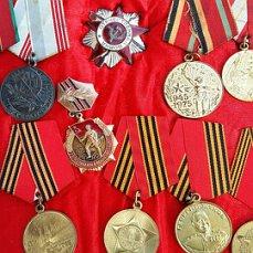 орден Красной звезды, медаль за храбрость стойкость и мужество,орден Жукова и юбилейные.