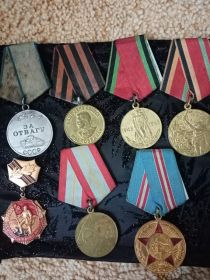 Медаль «За отвагу» Медаль «За оборону Советского Заполярья» Медаль «За победу над Германией в Великой Отечественной войне 1941–1945 гг.» -->