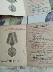 За доблестный труд в Великой Отечественной войне
