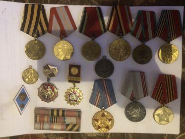 Орден красной звезды, медаль за победу над Германией, медаль за отвагу, Орден отечественной войны I степени