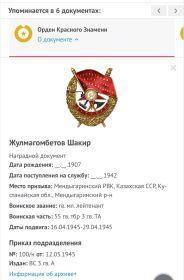 Орден Отечественной войны 'll степени, орден Красного Знамени, орден за Отвагу, Медаль за взятие Берлина,Медаль за освобождение Праги
