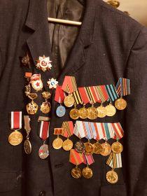Орден Красной звезды,Орден Отечественной войны 1 степени,медаль за Победу над Германией,медаль за взятие Кенигсберга, и еще многие многие другие медали.