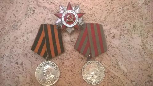 «За освобождение Кавказа», «За оборону Москвы», «За отвагу», « За взятие Берлина», орденом Отечественный войны II степени.