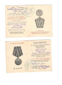 Награжден медалями «За Победу над Германией», «За Победу над Японией».