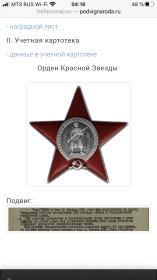 Орден красной звезды, медаль за отвагу.