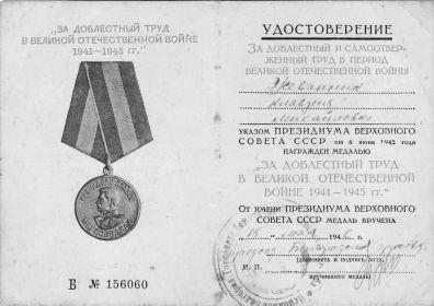медаль  «За доблестный труд в Великой Отечественной войне 1941 – 1945г.»
