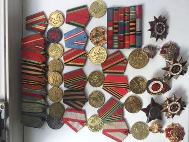 Медаль за отвагу номер 1059331;   Орден Красной звезды 05.1943 номер 144785;  медаль Отечественной Войны  1-й степени номер 529543; за оборону Кавказа ; за осво...