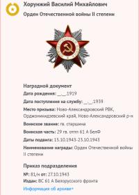 награды     Орден Отечественной войны II степени     Медаль «За отвагу»     Медаль «За боевые заслуги»     Медаль «За взятие Берлина»     Медаль «За освобождение Праги»     Медаль «За победу