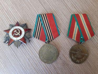 Орденом Великой Отечественной войны, как военнослужащий, который своими действиями, способствовал успеху боевых операций Советских войск, медалью «60 ЛЕТ ПОБЕДЫ В ВЕЛИКОЙ  ОТЕЧЕСТВЕННОЙ  ВОЙН