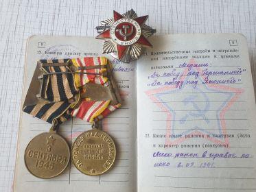 Медаль за победу на Германией и Японией; Орден отечественной войны II степени (номер 3065684)