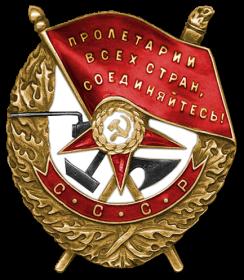 Орден Красного Знамени ( два ) , Орден Суворова III степени , Орден Отечественной войны I степени ( два ) ,Герой Советского Союза (Орден Ленина и медаль «Золотая звезда»)