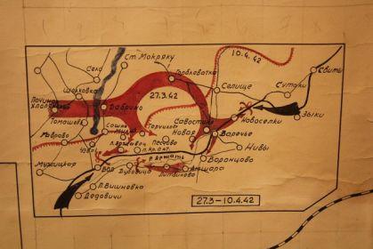 Карта боев 1342 СП в марте-апреле 1942г.