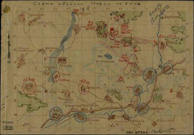 Карта боев 1342 СП на 08.04.1942г.