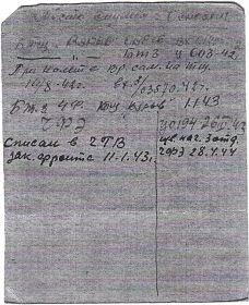алфавитная карточка Николая Ивановича ( обратная сторона )