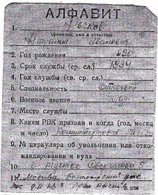 алфавитная карточка Николая Ивановича