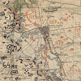 Оперативная карта обороны 339сд.на реке Миус декабрь 1941года