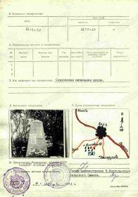 Учетная карточка захоронения