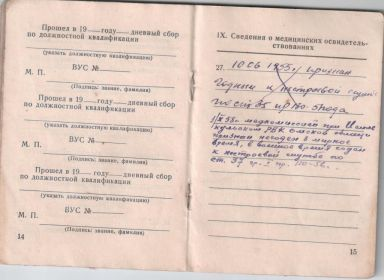 Военный билет страницы № 14, № 15